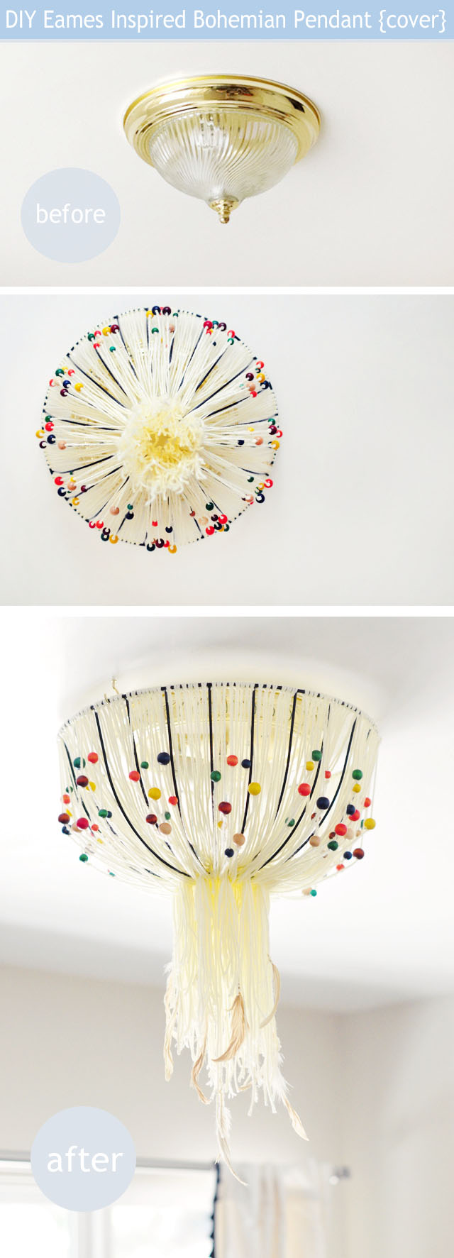DIY ceiling light fixture cover-eames bohemian beaded feathered lamp