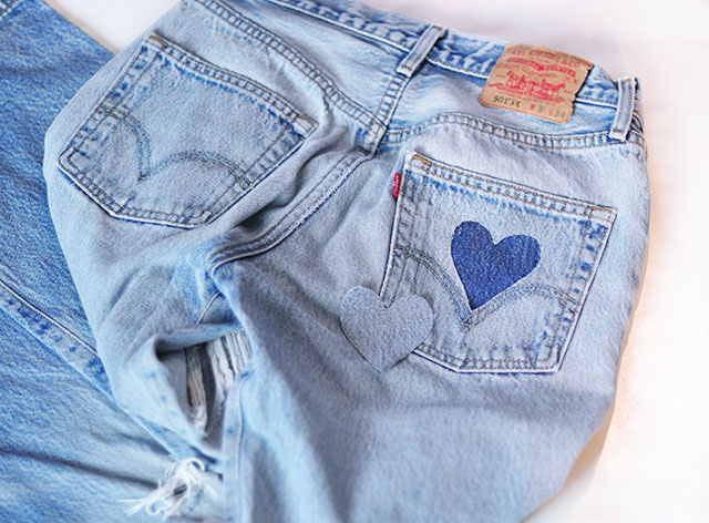 DIY cut out heart pocket jeans_vintage levis-5