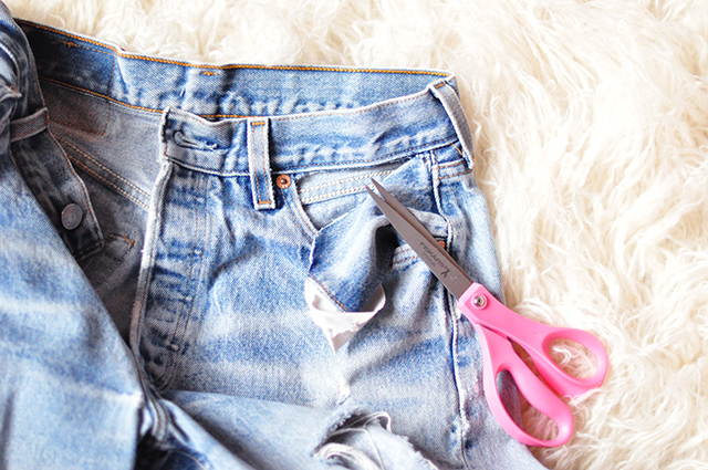 DIY cut-out pockets_bare pockets vintage levis