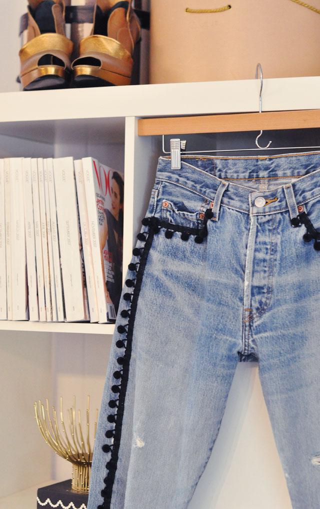 DIY embellished pom pom jeans