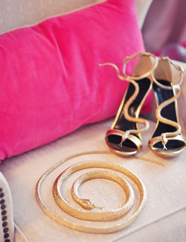 DIY gold snake shoes and belt