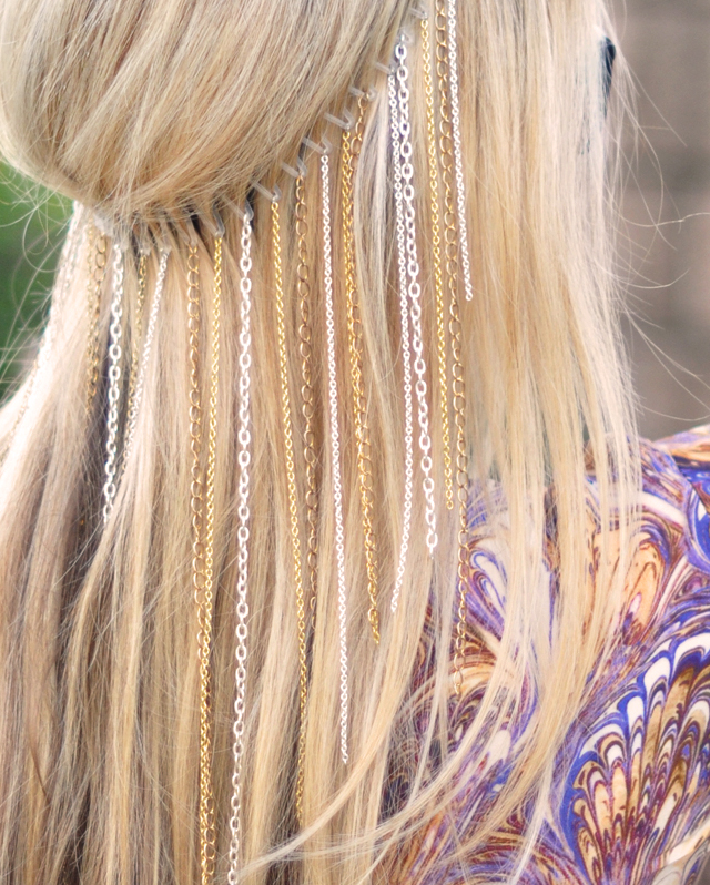 DIY hanging chains headband-Hair accessories-Coachella style-2