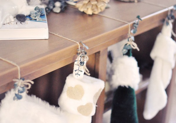 DIY hanging christmas stockings on shelves