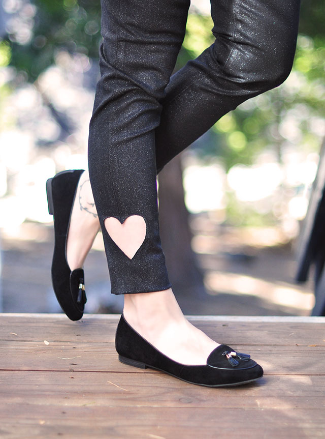 DIY heart ankle jeans