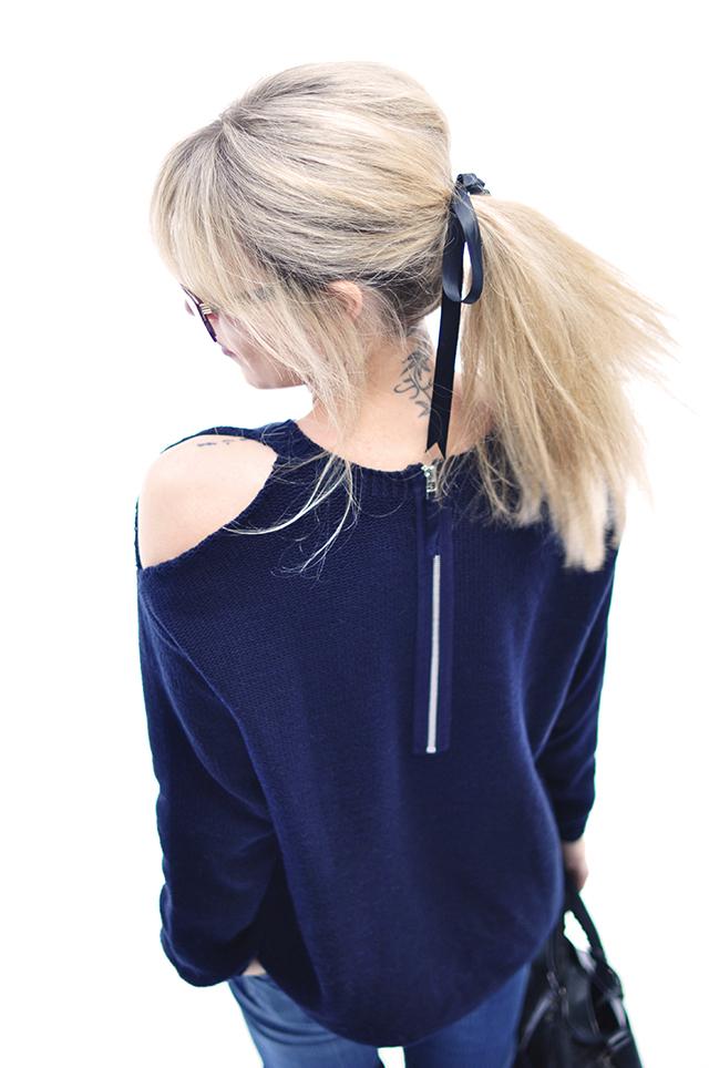 DIY open shoulder sweater