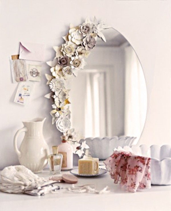 DIY paper flowers on a mirror