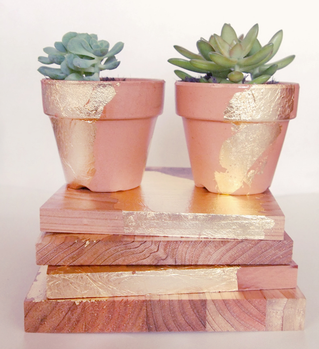 DIY rustic gold leaf gifts -1