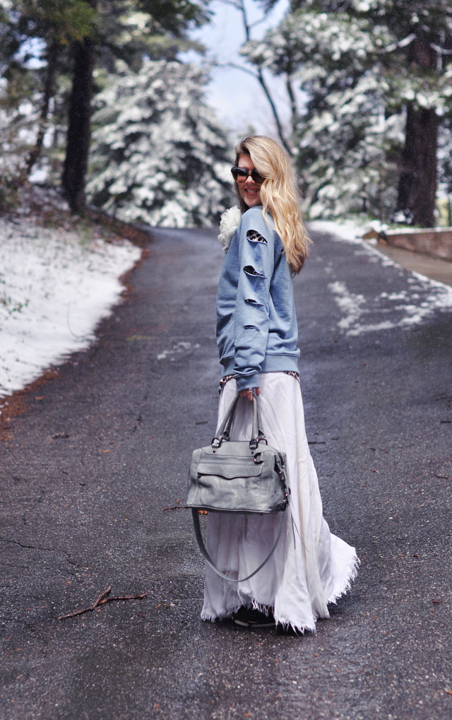 DIY-slashed-sweatshirt-and-long-tattered-maxi-skirt-in-the-snow
