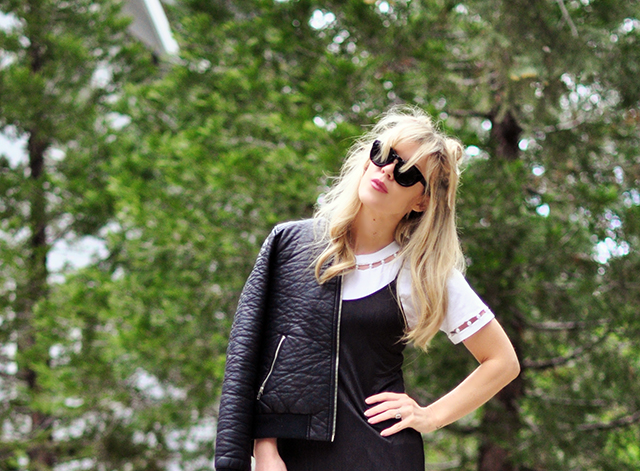 DIY t-shirt+black dress+bomber jacket