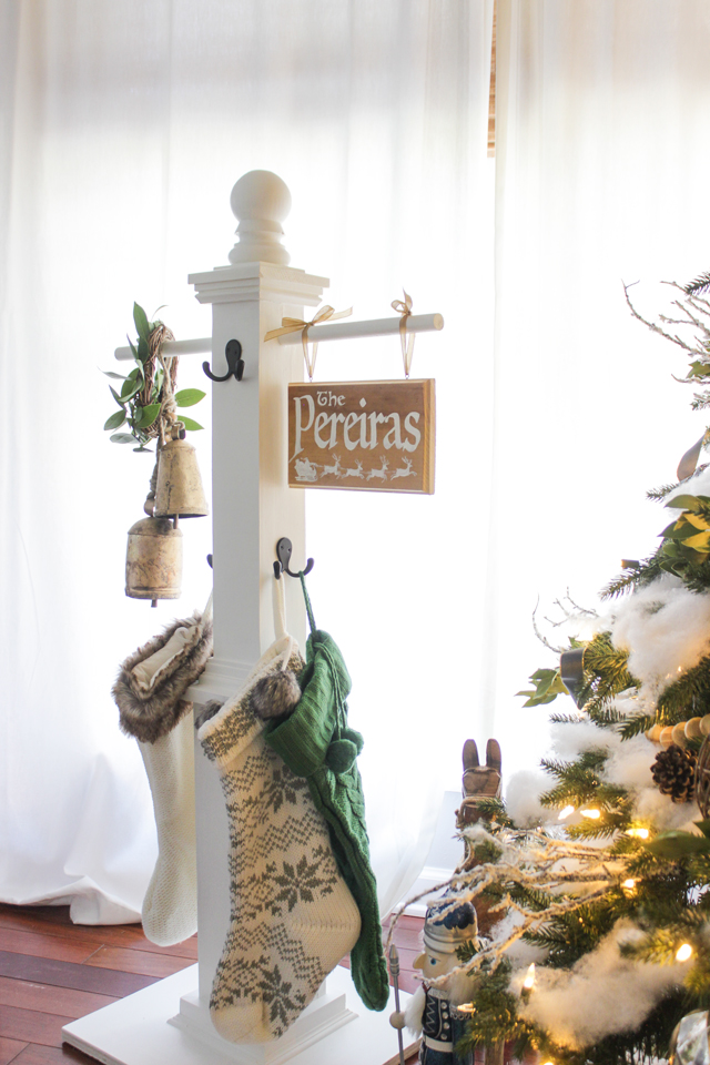 diy stocking post - when you don't have a mantel