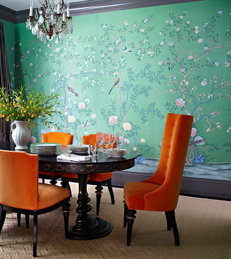 De Gournay 'Earlham'-dining room orange chairs