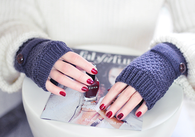 Deep red Zoya nail polish_fingerless gloves