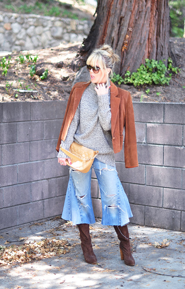 Denim culottes_70s fall styles_chanel bag