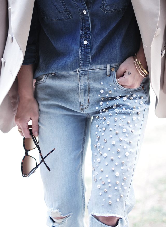 Denim on denim _ pearl embellished jeans