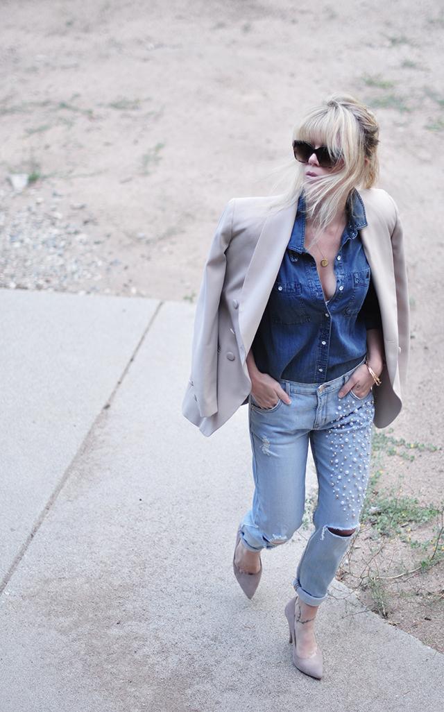 Denim on denim_pearl embellished jeans_neutral blazer