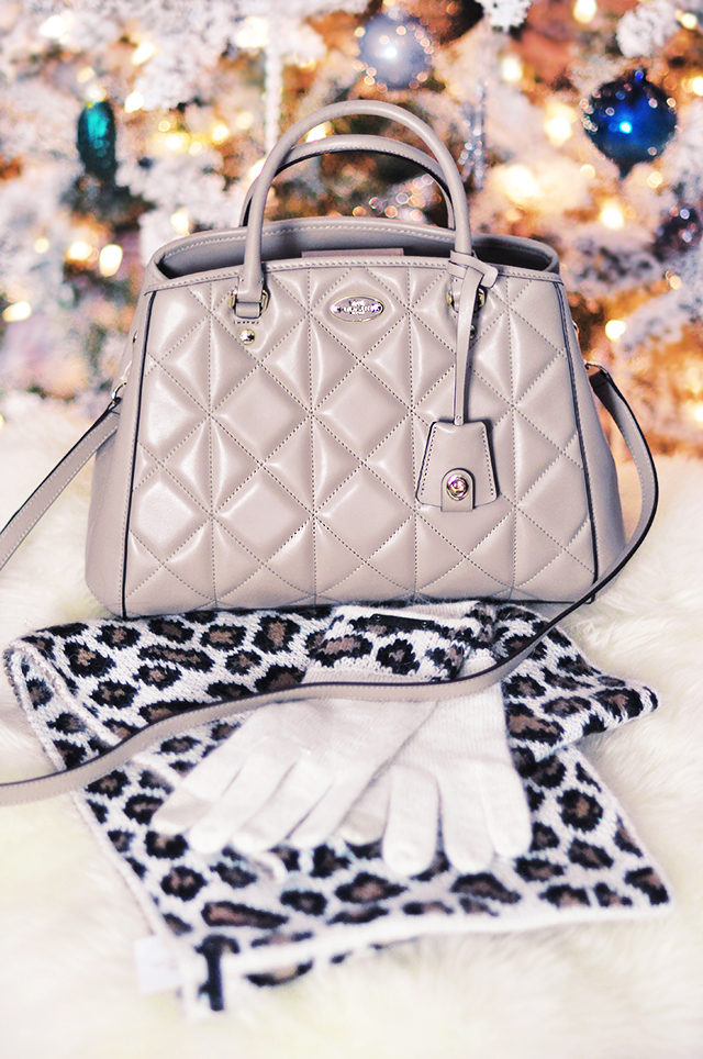 Diamond quilted Coach bag _ Leopard Scarf and Gloves