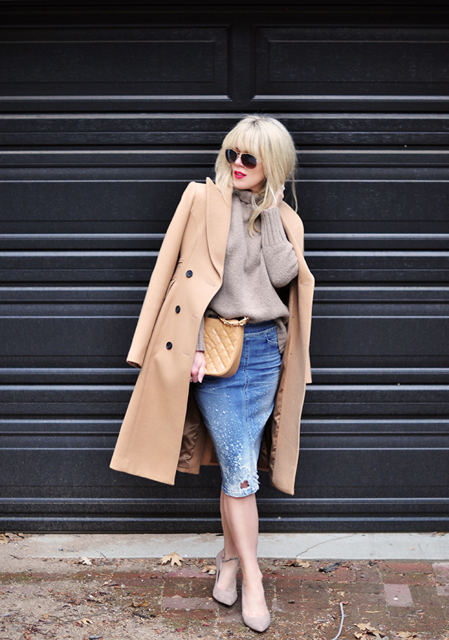 Distressed denim pencil skirt_camel coat_neutral outfit