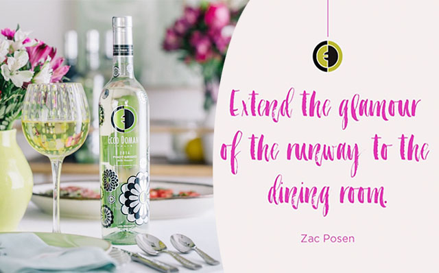 Dressed by Zac floral pinot grigio bottle for ecco domani