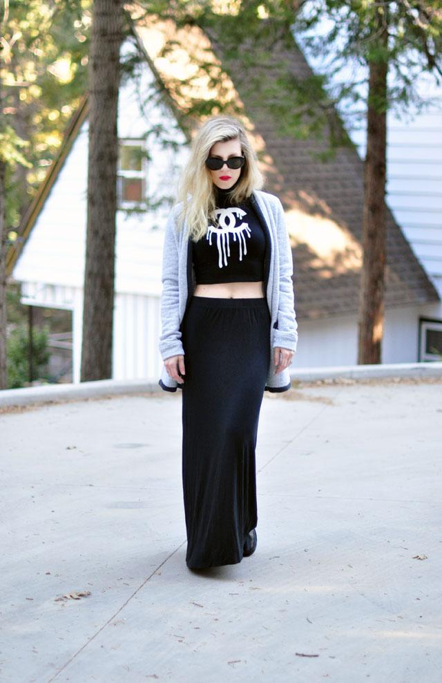 Dripping Cs crop top and maxi skirt-