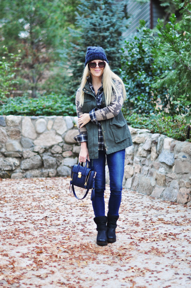 Easy Cozy outfit for Fall in navy+green+black