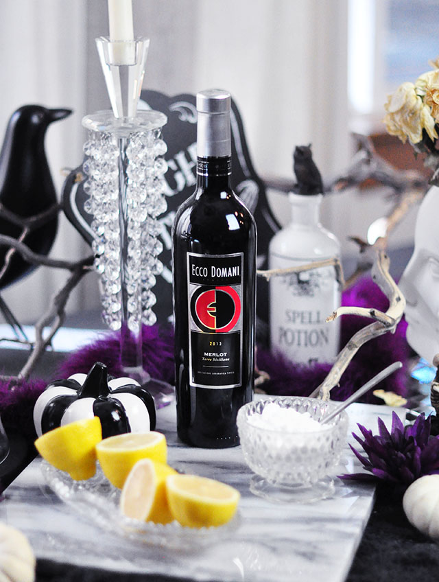 Ecco Domani Merlot_Halloween winetail cocktail