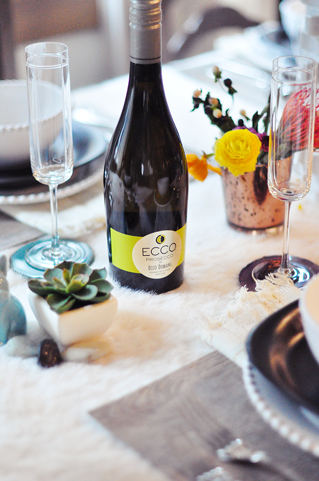 Ecco Domani Prosecco_Mixed textures tablescape with wildflowers