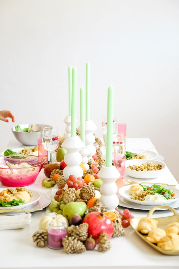 Colorful and bright Thanksgiving tabletop