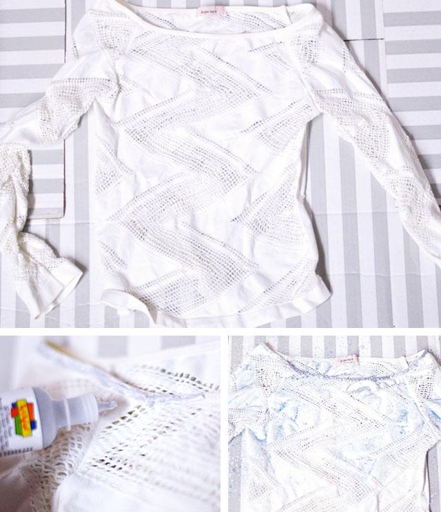 Elsa DIY shimmer white under shirt