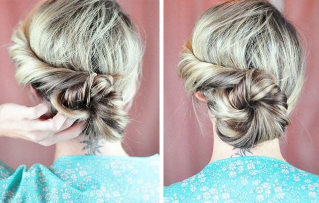Elsa hair tutorial -before- twist and bun-6