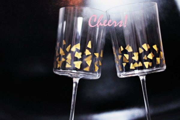 Festive gold triangles geo stemware cheers