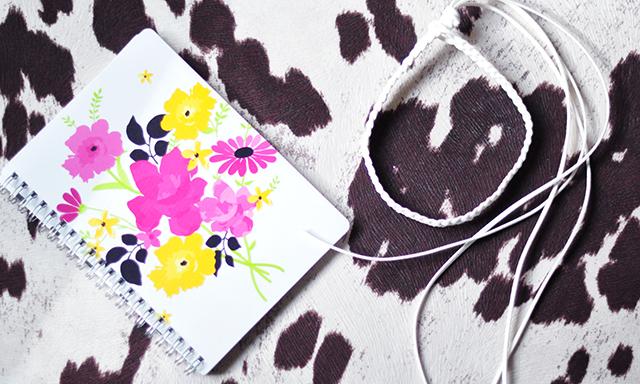 Floral spiral notebook_braided choker