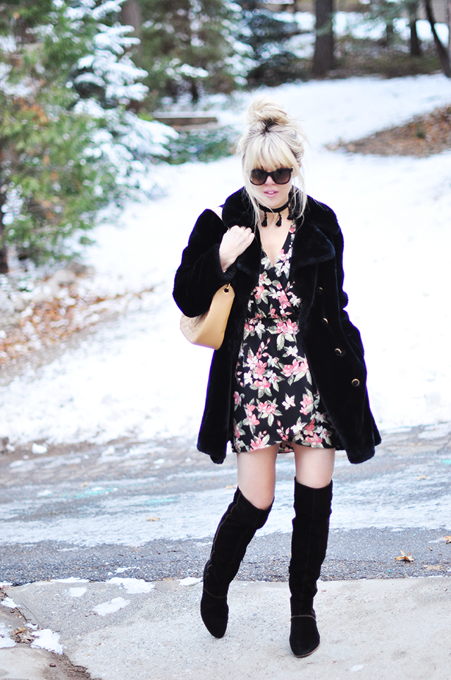Floral wrap dress_vintage coat_suede boots_chanel bag_style in the snow