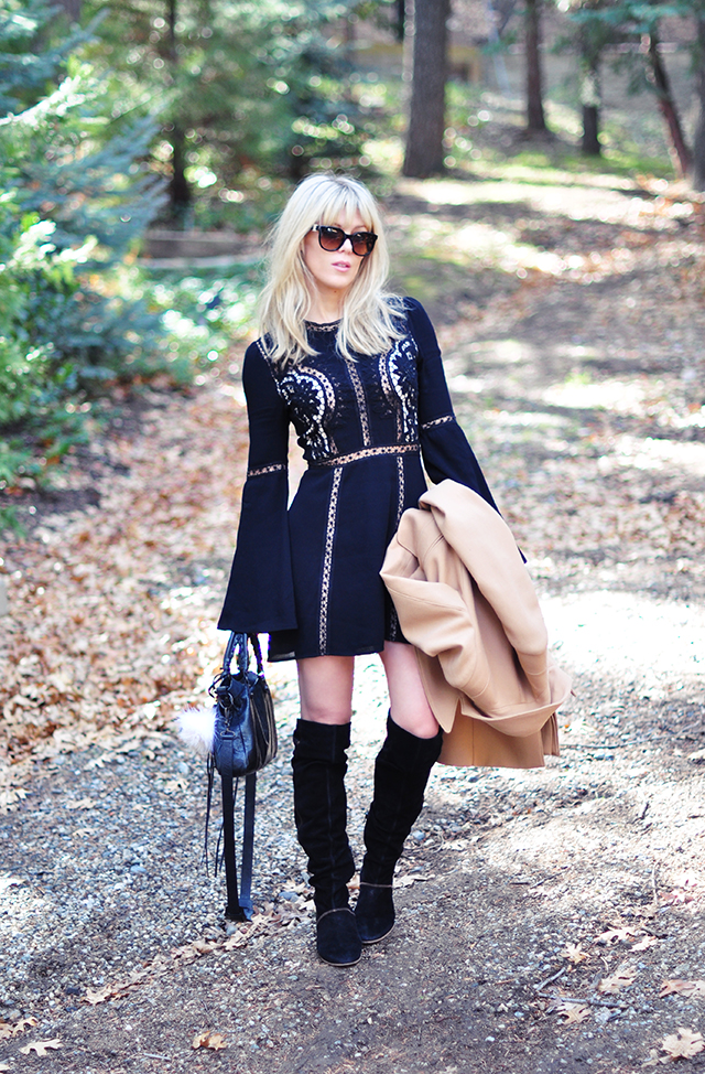 Free People little black dress_suede boots
