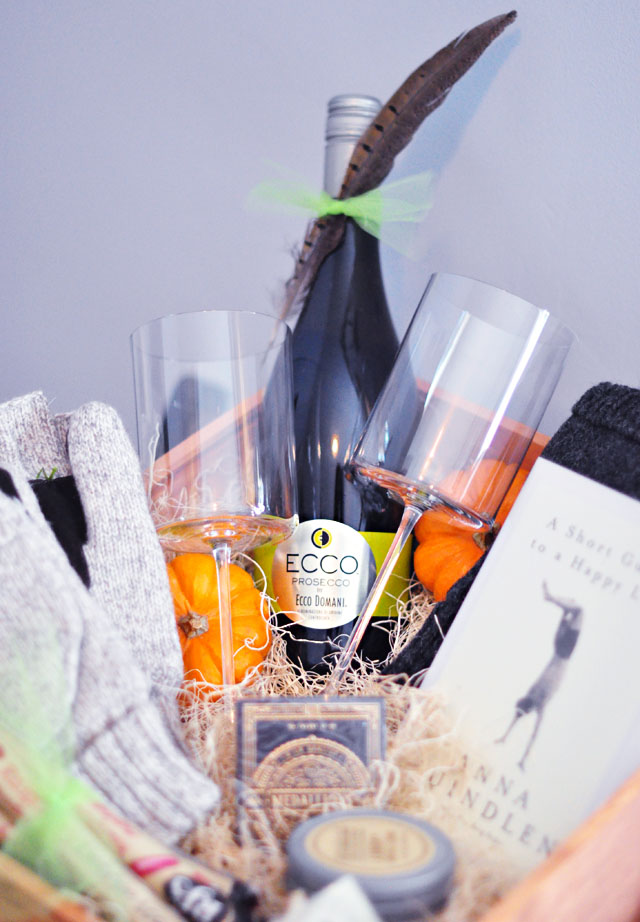 Friendsgiving guest room basket