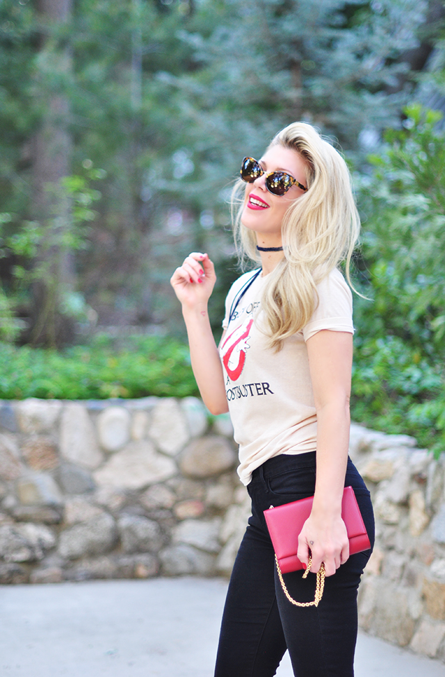 Ghostbusters shirt_black jeans_red lips