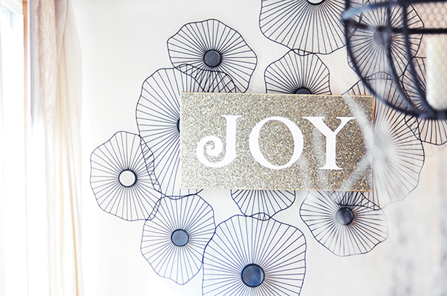 Gold Glitter JOY canvas