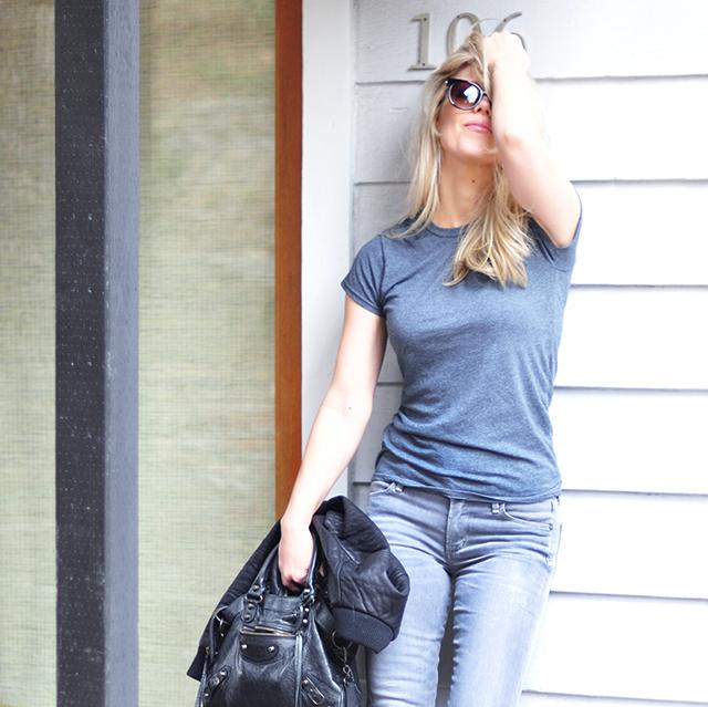 Grey jeans_Gray tee_balenciaga bag