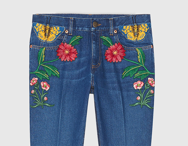 Gucci Garden Pants with floral embroidery denim