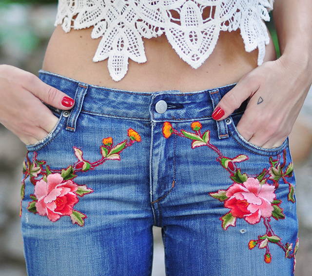 Gucci Garnden Pants_ DIY Embroidered Jeans_lace crop top