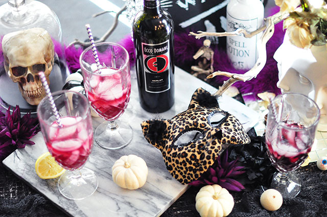 Halloween party table_merlot winetail