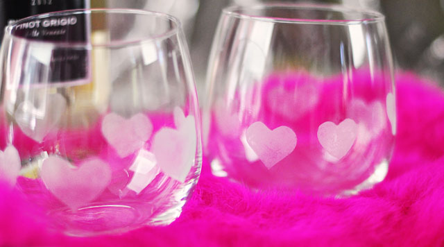 Heart Etched wine glasses DIY