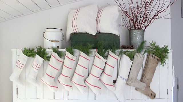 rustic vintage stockings hanging