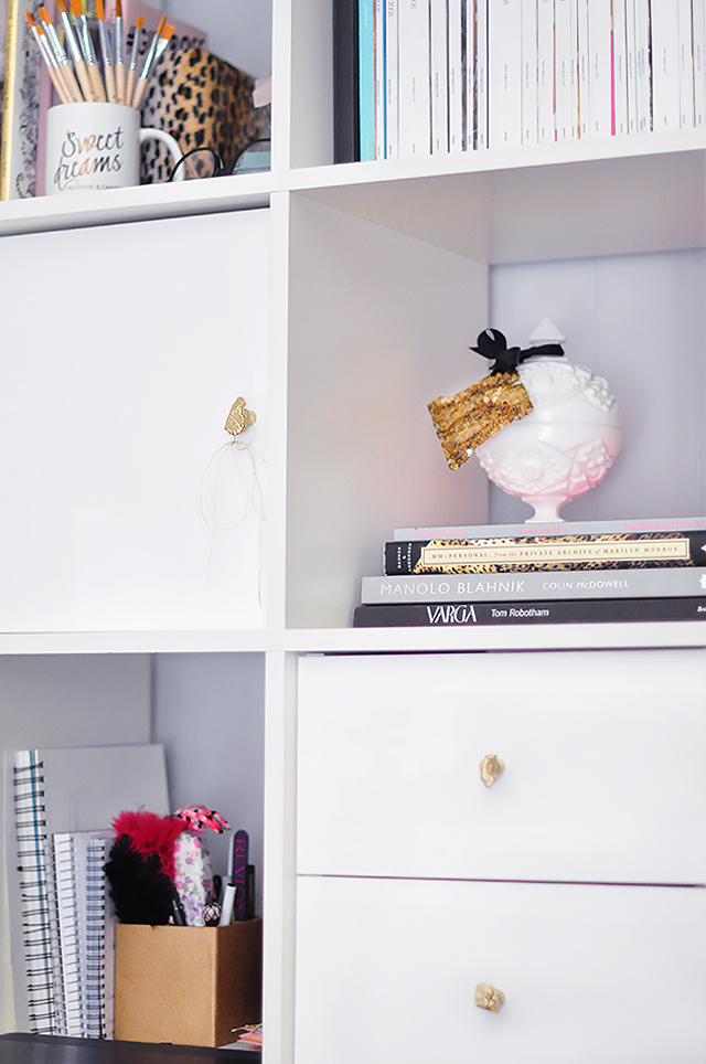 Ikea Expedit Shelves_Doors+Drawers_DIY Gold Drawer Pulls_Knobs, ikea furniture hack
