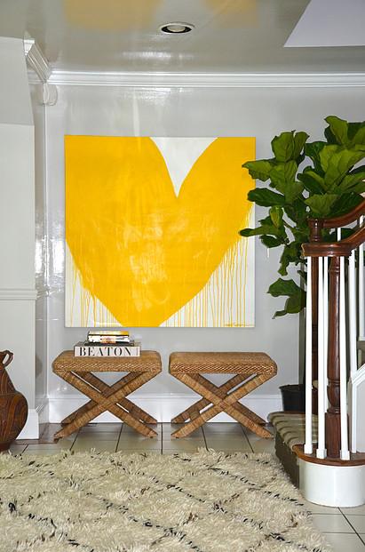 KERRI ROSENTHAL ART drippy yellow heart entryway