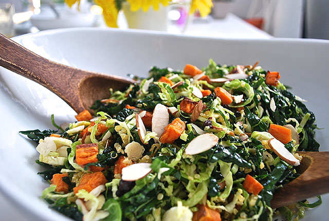 Kale Brussels Sprouts Sweet Potato Salad recipe
