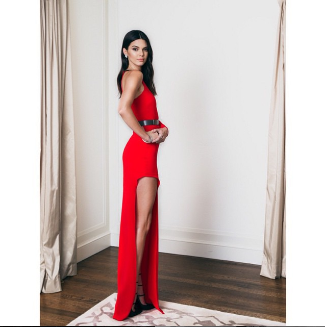 Kendall Jenner red dress with high leg slit