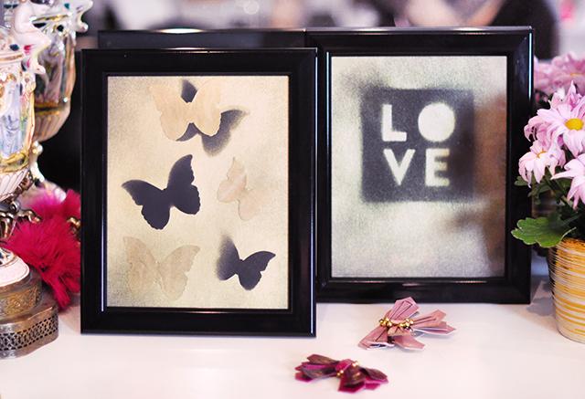 LOVE and Butterflies gold dust art prints