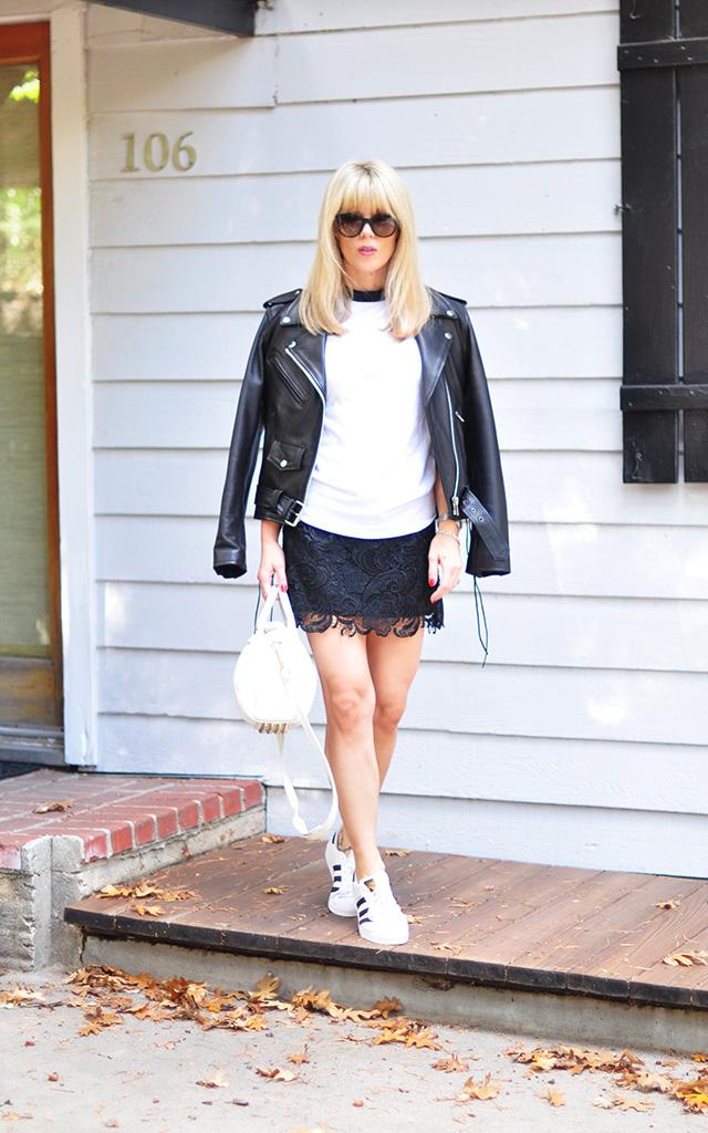 Lace skirt_Raglan tee_biker jacket_adidas