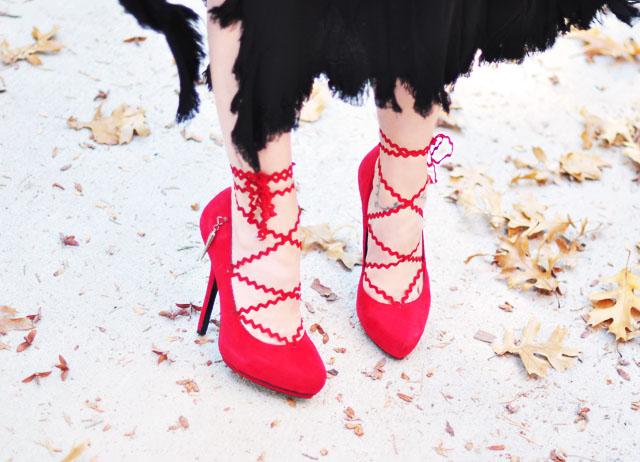 Lace up platform pumps - red heels