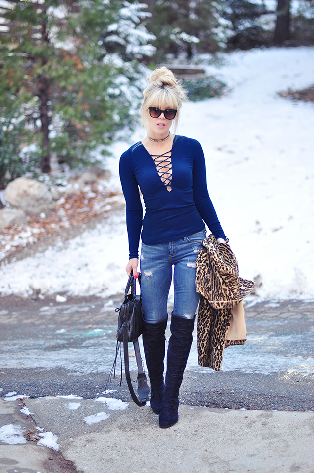 Lace up top_over the knee boots_jeans_winter style